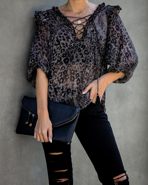 Quite The Catch Lace Up Chiffon Ruffle Blouse - FINAL SALE