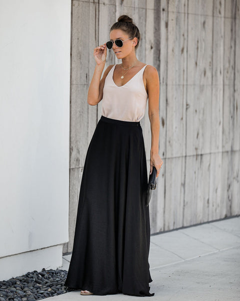 Duchess Satin Maxi Skirt - Black