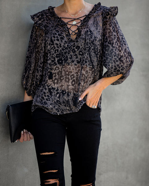 Quite The Catch Lace Up Chiffon Ruffle Blouse