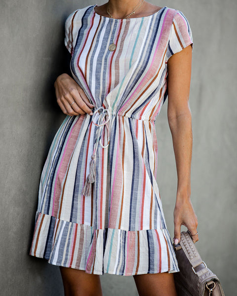 Duncan Cotton Blend Striped Tassel Dress