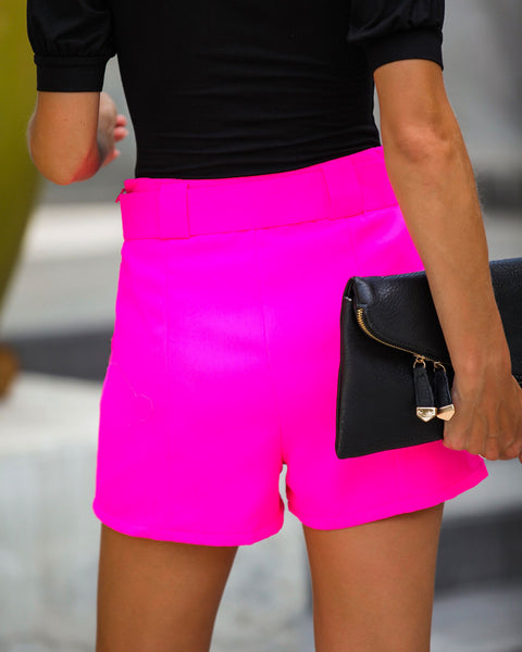 Future Is Bright Pocketed Belted Shorts - Hot Pink