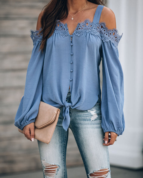 Blake Lace Cold Shoulder Tie Blouse - Blue - FINAL SALE