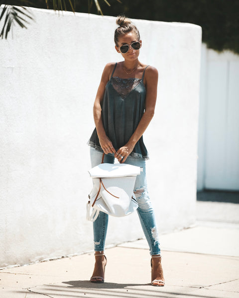 Lovin' Life Lace Cami Tank - Charcoal