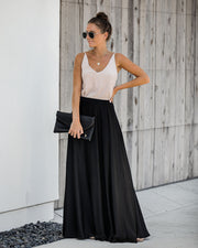 Duchess Satin Maxi Skirt - Black - FINAL SALE