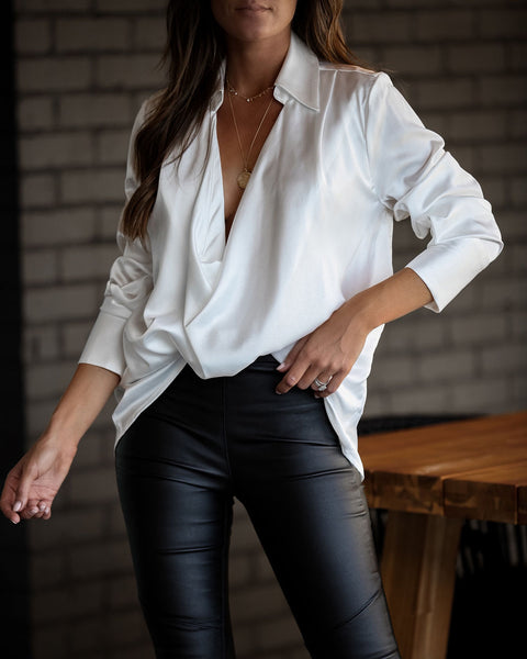PREORDER - Problem Solved Satin Collared Drape Blouse - Off White