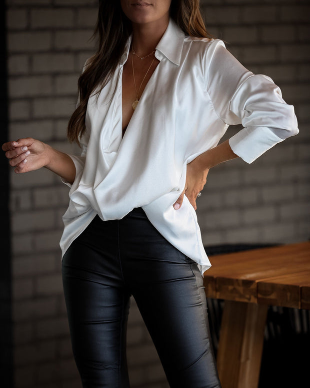 Problem Solved Satin Collared Drape Blouse - Off White