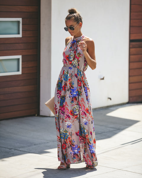 Live Deliberately Floral Maxi Dress - Grey