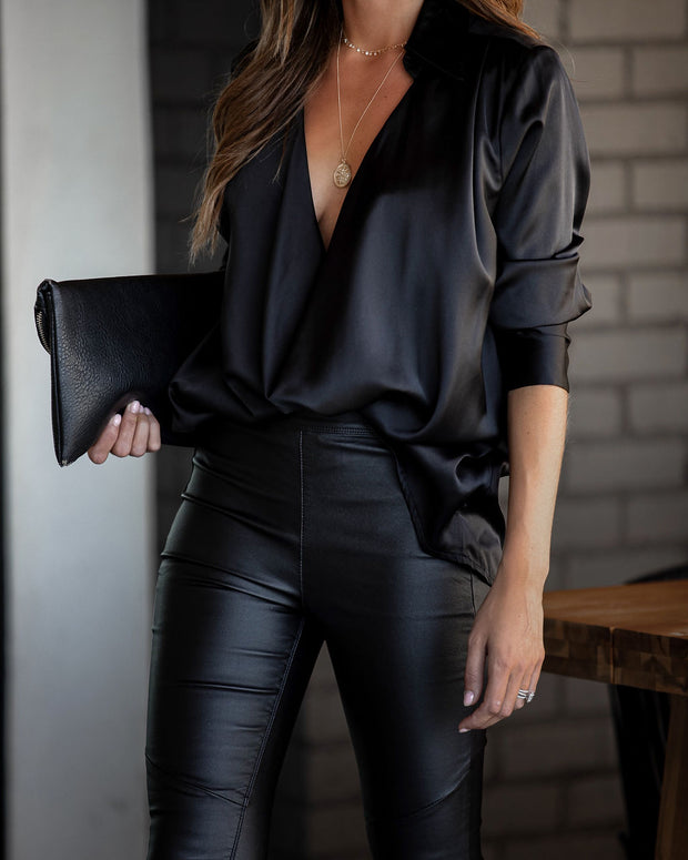 Problem Solved Satin Collared Drape Blouse - Black