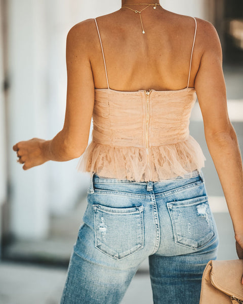 Vogue Chiffon + Lace Crop Top - Nude