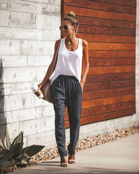 Cardi Printed Pocketed Pants - Navy
