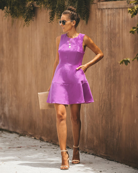 Pop Of Color Pocketed Dress - Orchid