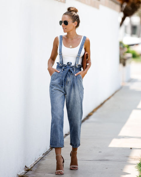 Newcomer Denim Pocketed Tie Overalls