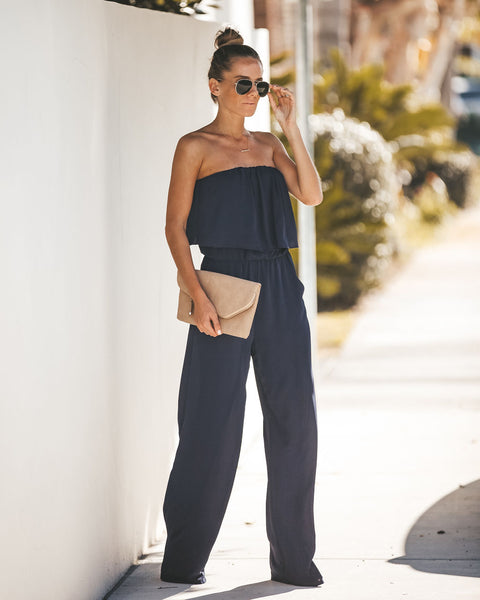 Supreme Strapless Pocketed Jumpsuit - Navy - FINAL SALE