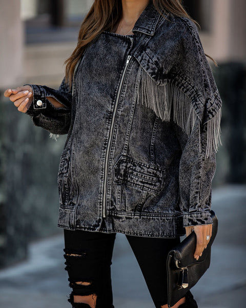 Masonic Metallic Fringe Washed Denim Jacket