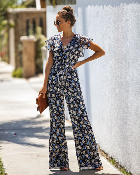 Adorn Floral Chiffon Open Back Jumpsuit - FINAL SALE