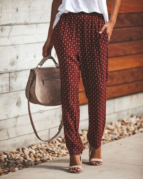 Cardi Printed Pocketed Pants - Wine