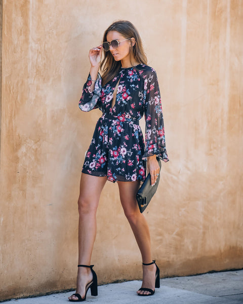 Dig Deep Floral Tie Back Shimmer Romper - FINAL SALE