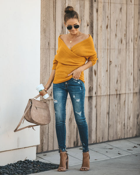 4f9abfe2a73 Wrap Me Up Sweater - Mustard