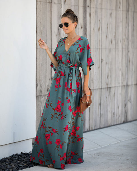 Wishful Thinking Floral Kimono Maxi Dress - FINAL SALE