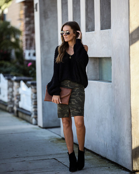 Want Attention Cotton Camo Pencil Skirt