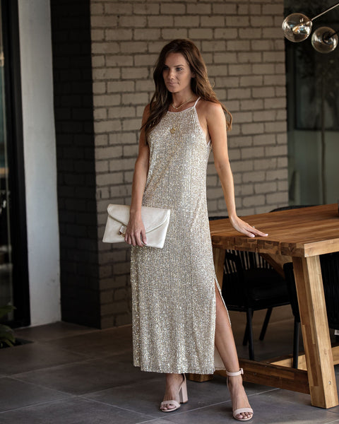Launch Party Sequin Slit Midi Dress