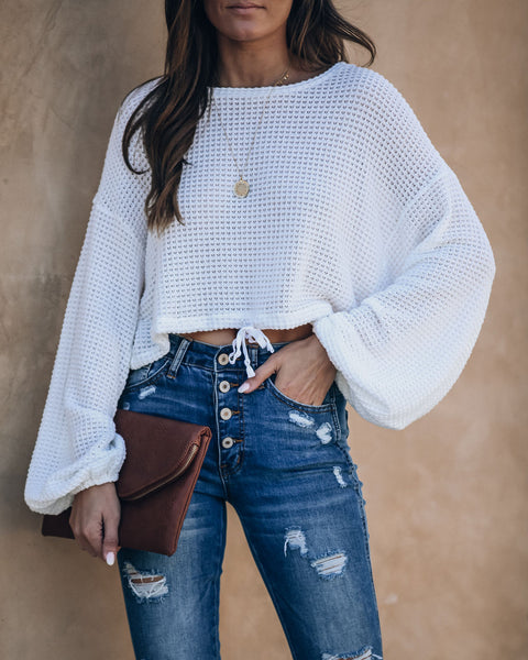 Quila Cropped Drawstring Thermal Knit Top