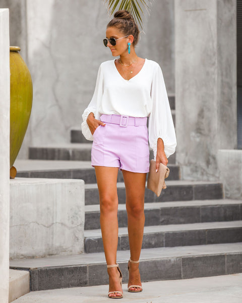 Future Is Bright Pocketed Belted Shorts - Lilac