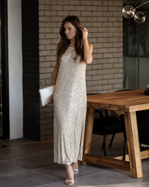 Launch Party Sequin Slit Midi Dress - FINAL SALE