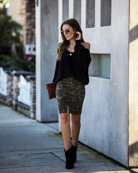 Want Attention Cotton Camo Pencil Skirt - FINAL SALE