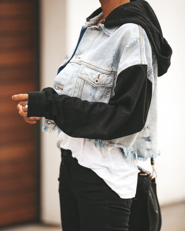 Maxed Out Denim Contrast Hooded Jacket