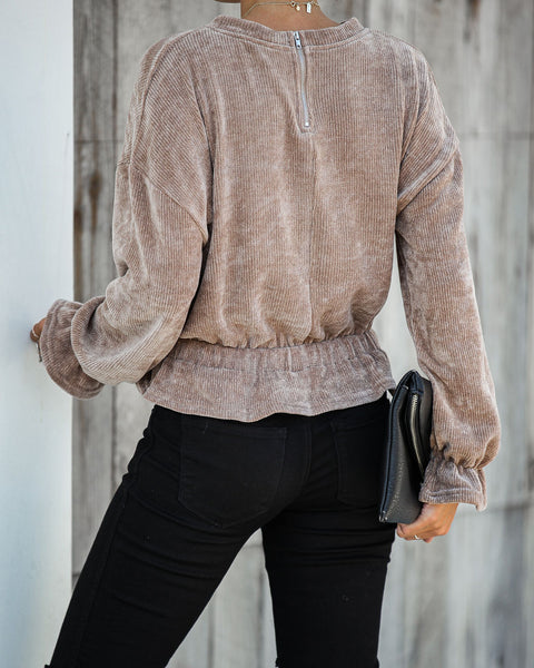 Yves Chenille Ruffle Top - Taupe - FINAL SALE