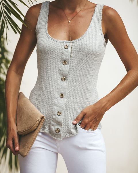 New England Button Down Knit Tank - Heather Grey