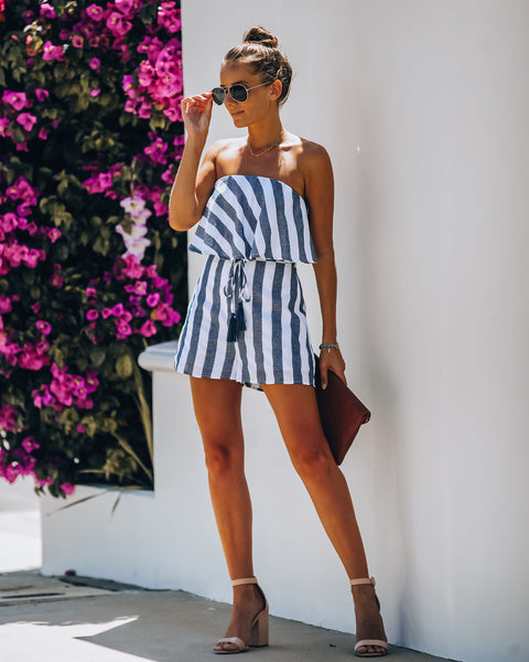 Byron Cotton Blend Striped Strapless Romper