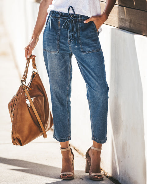 Hit The Road Drawstring High Rise Cropped Denim - Medium Wash - FINAL SALE