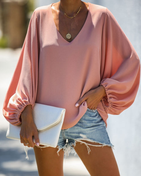 Bells Will Be Ringing Balloon Sleeve Blouse - Foundation Pink