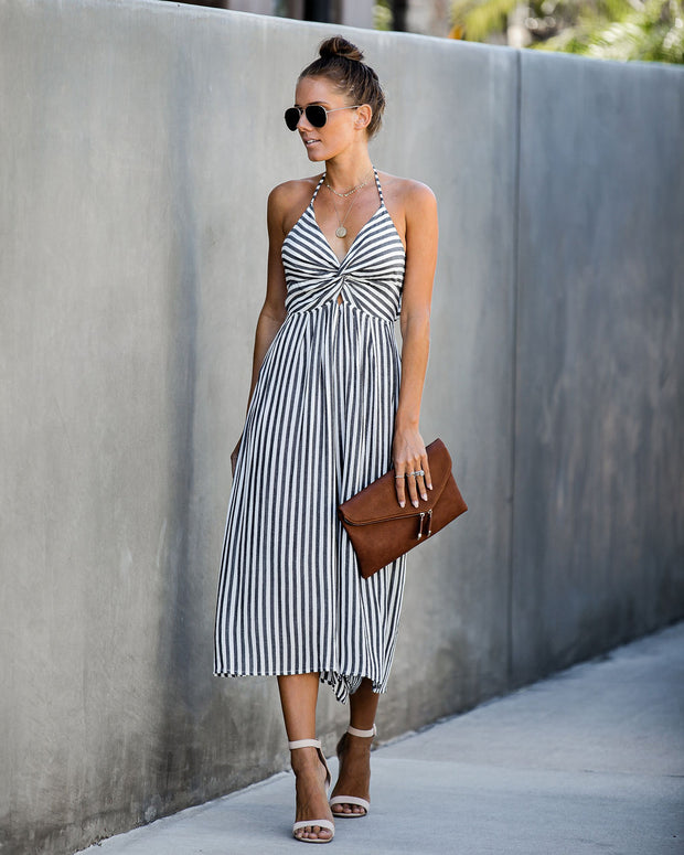 Rewind Time Striped Halter Jumpsuit - FINAL SALE