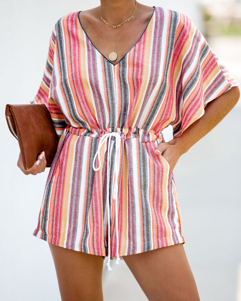 Good Vibrations Striped Pocketed Romper