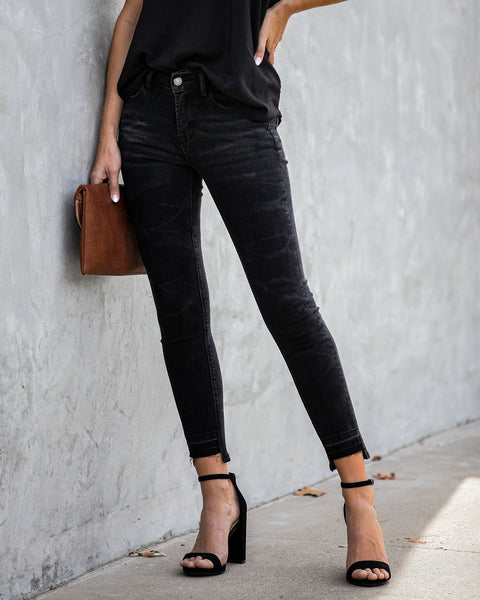 Broadcast Mid Rise Frayed Ankle Skinny