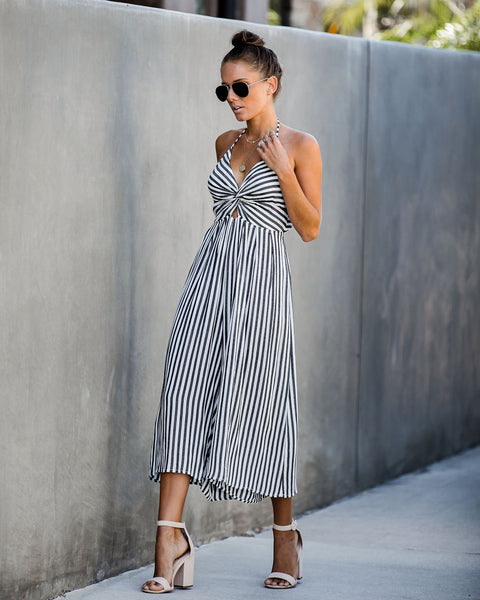 Rewind Time Striped Halter Jumpsuit