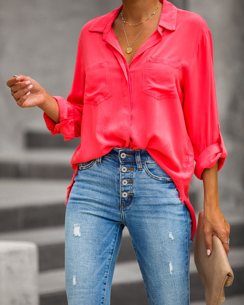 Have A Vision Button Down Top - Dark Coral