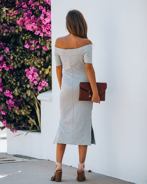 Frida Off The Shoulder Ribbed Midi Dress - Heather Grey - FINAL SALE