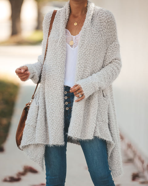 Blissfulness Knit Pocketed Cardigan - Soft Grey