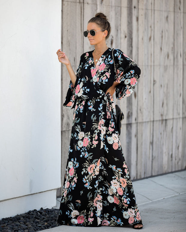 Desert Storm Wrap Kimono Maxi Dress  - FINAL SALE