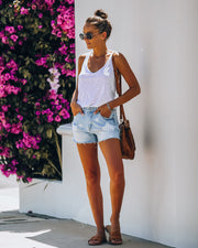 Supernova High Rise Distressed Denim Shorts