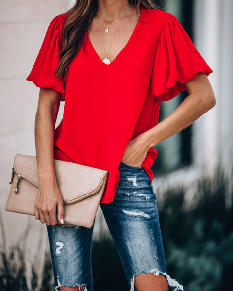Authenticity Puff Sleeve Blouse - Tomato Red