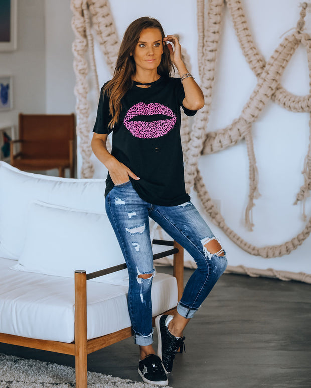 Read My Lips Cotton Distressed Leopard Tee