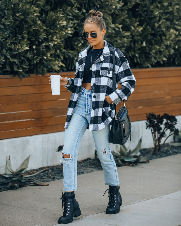 PREORDER - Larry Pocketed Buffalo Plaid Shacket - Ivory