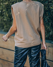 Zoe Padded Muscle Tee - Coffee