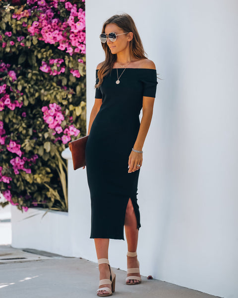 Frida Off The Shoulder Ribbed Midi Dress - Black