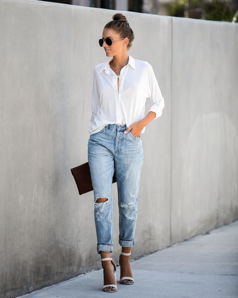 Invaluable Button Down Top - White - FINAL SALE